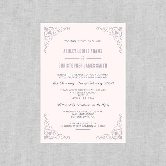 Classic wedding invitation suite, Elegant vintage wedding invitations cheap, Luxury wedding invitations, Purple, Plum, Grey, Calligraphy, A5