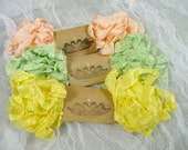 Crinkled Ribbon Hand Scrunched or Straight Peach Yellow Pale Key Lime Green Gelato Citrus for Vintage Style Shabby Crafts Scrapbook Cards