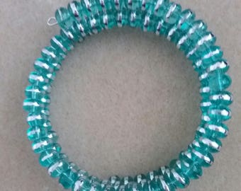 ladies/teenager beaded bracelet mint green and silver