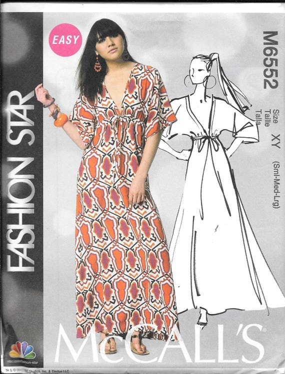 McCalls Caftan Sewing Pattern MP227/ M6552 EASY Fashion Star Maxi ...