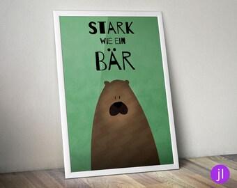 """A4 Kinder-Poster """"Stark wie ein Bär"""""""