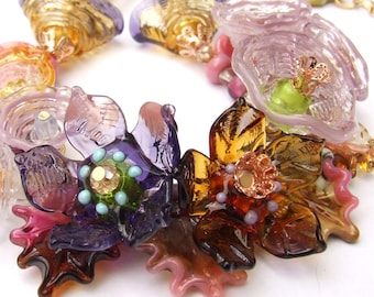 Handmade Lampwork Floral Necklace, Amber-Purple-Pink Bouquet, Festive Glass Necklace, Unique Gift, Made to Order !