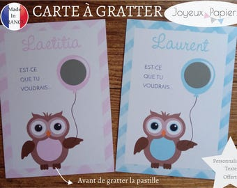Request custom godmother Godfather scratch card will you be my godmother / Godfather? pink or blue OWL pattern