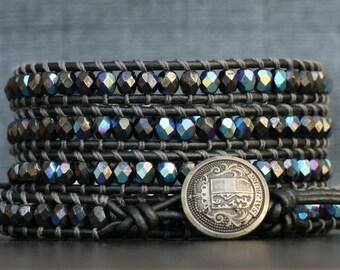 READY TO SHIP wrap bracelet- hematite aurora borealis czech glass on pewter leather - boho gypsy glam bohemian