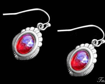 Minimalist Art Deco Drop Earrings, Dragons Breath, Silver, Vintage Jewelry