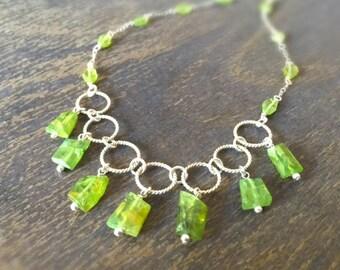 Peridot Necklace - Green Gemstone Jewellery - August Birthstone - Sterling Silver Jewelry - Luxe - Fashion