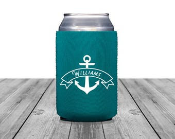 Neoprene Can Coolers, Personalized Coolies, Beach Wedding, Custom Hugger, Wedding Can Coolers, Wedding Logo, Anchor, Beach Party, 1354