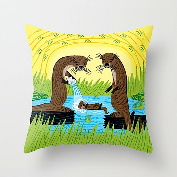 "An Otter's Paradise - illustrated children's - Throw Cushion / Throw Pillow Cover (16"" x 16"") by Oliver Lake"