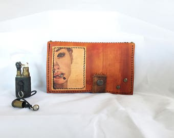 Leather tobacco pouch, gift for her, tobacco case, present for her, handmade, gift for her, personalized gift, women gifts, leather goods