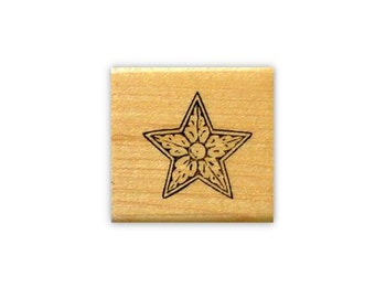 Carved Star mounted rubber stamp, decorative accent stamp, galaxy, twinkle, astronomy, Sweet Grass Stamps No.2