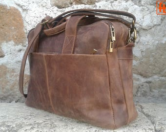 Handmade Italian Leather Bag, Oiled Leather, Shoulder Purse, Crossbody Messenger Bag with Handles, Laptop Bag, Computer Bag, Weekend Bag