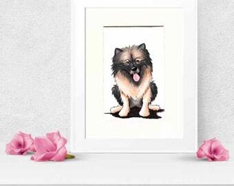 Keeshond Dog Original Art Illustration 5x7