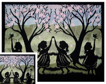 Twins  Greeting Card,  Dancing Girls, Silhouette, Paper Cut, sister's, Twins Card