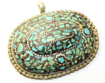 Antique Large Turquoise Chips Silver Coloured Vintage Bohemian Pendant (no chain) c1900s