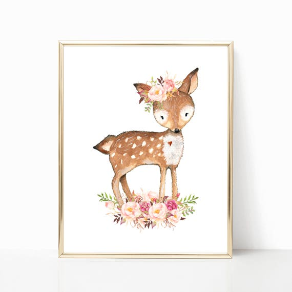 Floral Deer Nursery Art. Woodland Deer Art. Cute Deer Print