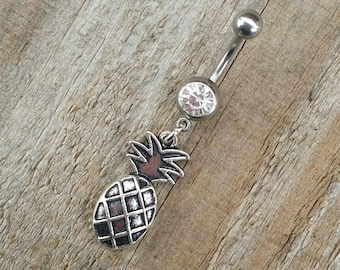 Pineapple Belly Button Ring, Body Jewelry, Pine Apple Navel Ring, Body Jewelry, Fruit Belly Button Jewelry.