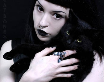 Cat Ring, Moonstone 'Bastet Ring' Sterling Silver Dark, Gothic, Witchy, Macabre, Occult Jewelry