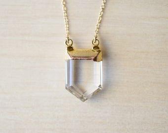 Layering Necklace Simple Gold Necklace Crystal Necklace Quartz Necklace