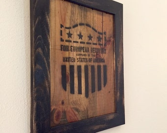 SALE -- Post WWII Military Industrial Design Art on Reclaimed Wood --