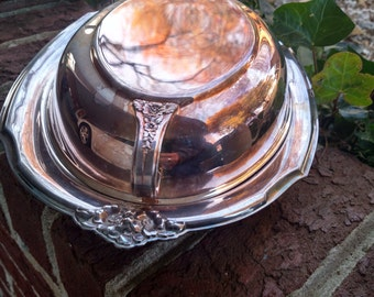 Wilcox international Silver Company platter with lid #112//Silver Platter with scroll work handles//Silver serving tray