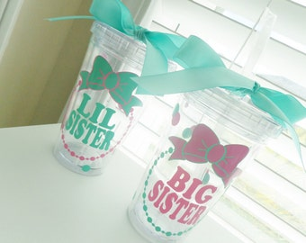 12 oz big sister or lil sister sibling tumbler - can be done in your choice of colors