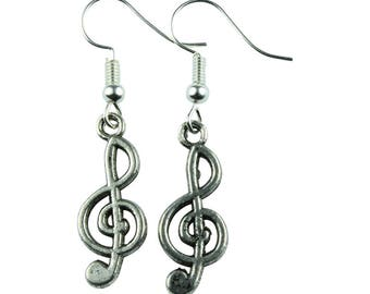 TFB - TREBLE CLEF Silver Music Dangle Earrings - Complete with gift box