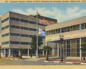 Antique Linen Postcard, Vintage Hollywood Postcard, Ephemera, Columbia Square, Home of KNX Columbia Broadcasting System, Hollywood Calif