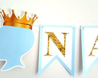 Prince Banner, Prince Baby Shower Banner, Prince Baby Shower, Prince Birthday Banner, Blue and Gold Banner, Royal Prince, Little Prince