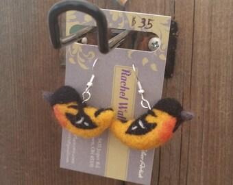 Needle felt bird earrings