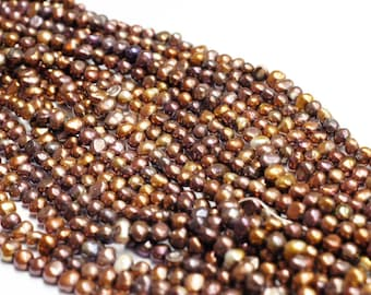 SPECIAL OFFER ~ 6mm - 6.5mm -Keshi Freshwater Pearls - Brown color - Rice Pearl - Seed Pearl