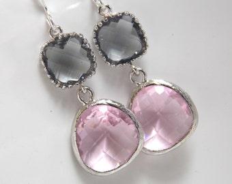 Pink Earrings, Gray Earrings, Silver Grey Earrings, Soft Pink, Rose, Glass, Bridesmaid Earrings, Bridal Jewelry, Bridesmaid Gifts