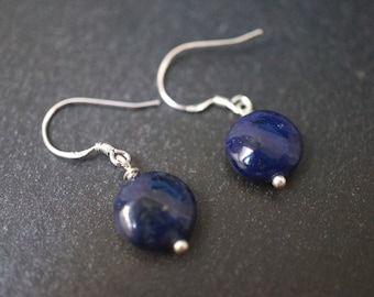 20% OFF - Hand Wrapped Simple Fits All Natural Genuine Royal Blue Lapis Lazuli From Pakistan  925 Sterling Silver Earrings - 1 pair