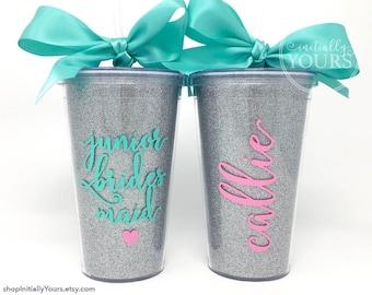 Junior Bridesmaid Tumbler, Glitter Cup, Personalized Junior Bridesmaid Gift, Jr Bridesmaid, Junior Bridesmaid Cup, Jr Bridesmaid Proposal
