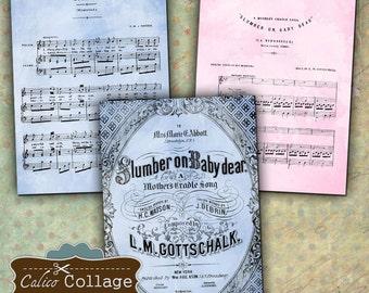 Printable Digital Collage Sheet, Lullaby Sheet Music, Baby Ephemera, Printable Paper, Baby Junk Journal, Digital Collage Page, CalicoCollage