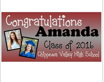 Personalized Graduation Banner TWO PHOTOS