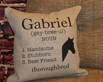 Personalized Custom Horse Pillow/ Equestrian/ Horse Rider/ Pets