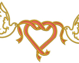 heart and wedding doves  Machine Embroidery Design - 4 sizes