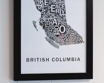 Far Sky British Columbia Typographic Map