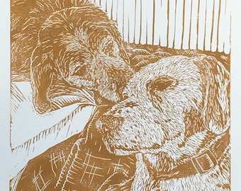 """Dog pair block print, """"Molly and Dinah"""" dog portrait linocut, hand-pulled, limited edition print"""