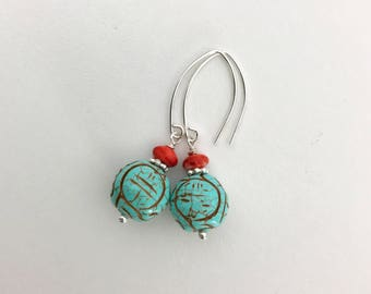 Turquoise Earrings with Spiny Oyster and Solid 925 Sterling Silver