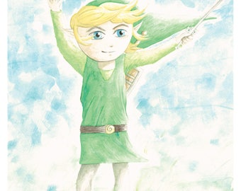 Link Legend of Zelda Wind Waker Watercolor 8x10 Art Print