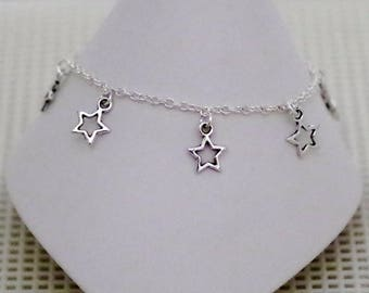 Anklet / Ankle Bracelet - Tiny Stars - Sterling SilverFilled Chain - TierraCast Charm