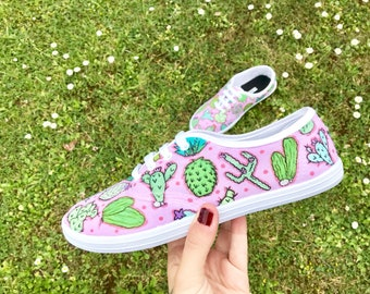 Cactus Lace Up Pumps - Hand Illustrated -Illustration -OOAK - Succulents - Pink - Plants - Colourful - Design - Footwear -Sneakers