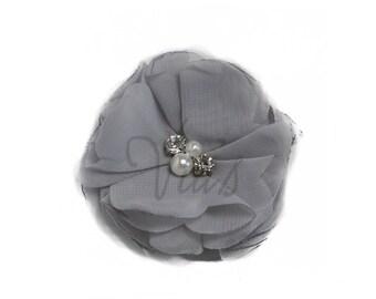 "Gray : 3"" Chiffon Pearl Rhinestone x 1 | Craft Flower for Headband DIY Kits | Girls Accessories Baby Showers"