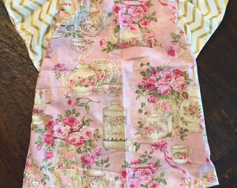 Baby Girl Bib Dress Tea Party Gold Pink Floral 3m 6m 9m 12m 18m 2T 3T  4T Birthday Gift Christmas Gift Present