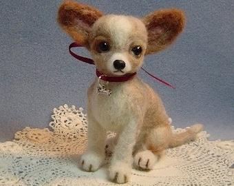 Custom needle felted dog art Chihuahua portrait sculpture wool