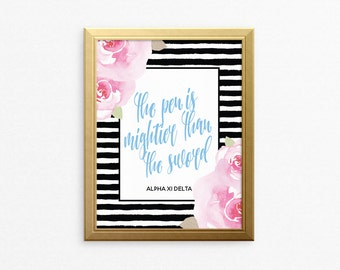AXiD Alpha Xi Delta Striped Floral Motto Ready To Frame Poster