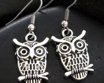 Cute LIttle Owl Earrings in Pewter and Hypoallergenic Ear Hooks