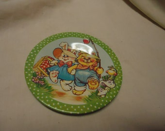 Vintage Metal or Tin Toy Saucer with Bear and Rabbit, collectable