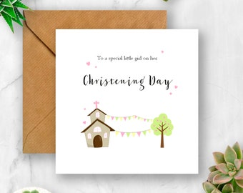 Church & Bunting Christening Day Card, Christening Card, Card for Christening, Baptism Card, Card for Baptism, Baby Christening, Christening